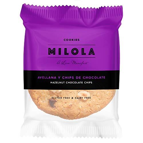 MILOLA Galletas Gluten Free. Pack 12 unidades - Sin Gluten, Sin Lácteos, Sin Gluten, Sin Aceite de Palma (HAZELNUT + CHOCO XIPS)