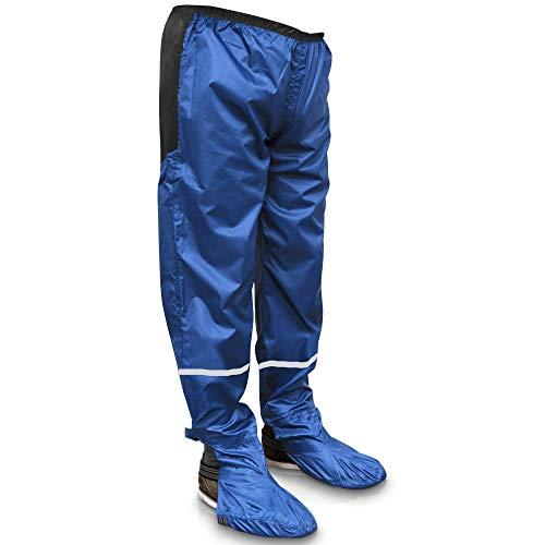 Rainrider Pantalones de lluvia para hombre y mujer (negro/azul) impermeables, incluye funda para zapatos extraíble, ropa de ciclismo para senderismo, pesca o como pantalones de jardín. azul real L