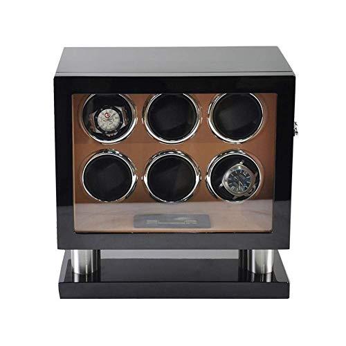 6 + 0 Relojes Enrollador automático de reloj Pantalla táctil inteligente Caja de madera 5 modos Enrollador de reloj de pulsera Rotador 2 Modo de fuente de alimentación-33 x 23 x 32,5 CM Beautiful Home