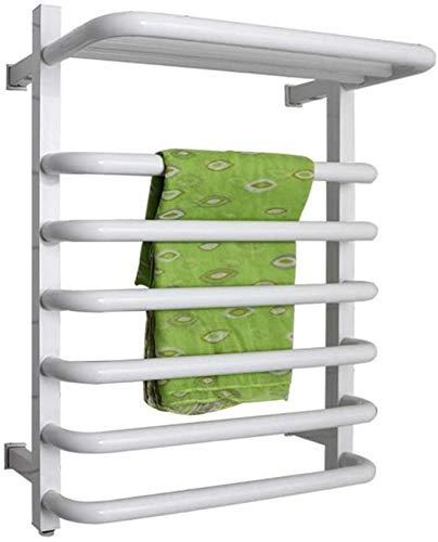 Inicio Equipos Calentador de toallas de pared Calentador de toallas eléctrico de 6 barras con estante superior 530X635x260mm Calentador de toallas de acero inoxidable con interruptor de encendido /