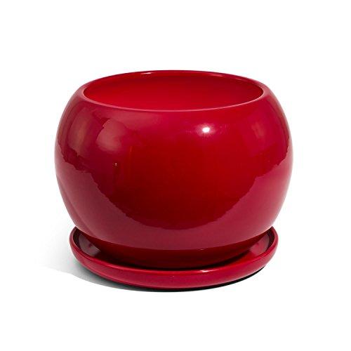 Vaso Sfera in Ceramica con sottovaso, Diametro Foro 13 cm, Colore: Rosso