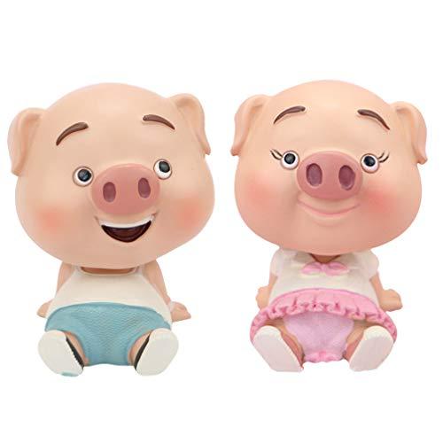 ifundom 2 Pcs Miniature Cochon Figurines Voiture Tableau De Bord Animaux Gâteau De Mariage Chiffres Résine Maison De Poupée Fée Jardin Ornement De Noël Goody Sac De Remplissage
