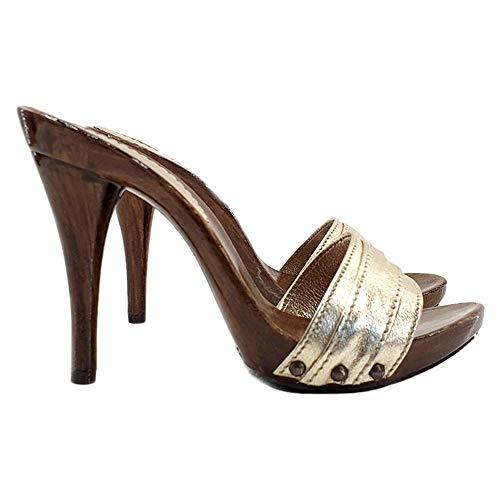Kiara Shoes Zoccolo Dorato Tacco 12CM - Consegna in 24/48 Ore lavorative - 72 Ore Isole e cap remoti (Italia)-KM7201-ORO (37 EU, Oro)