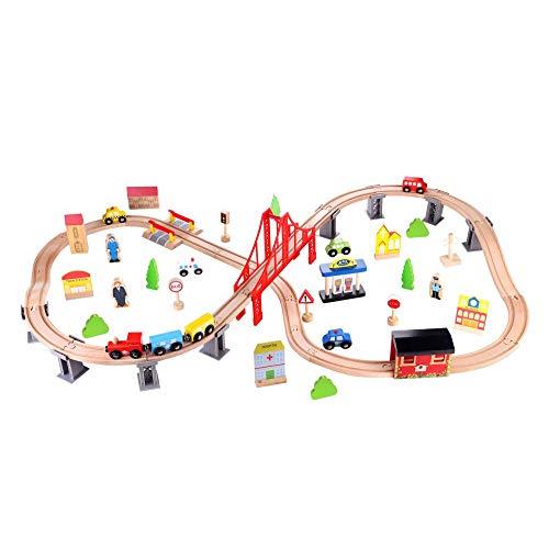 Tooky Toy Holzspielzeug großes 70-teiliges Holzeisenbahn-Set mit vielen Zubehörteilen wie Pflanzen, Figuren, Straßenschilder, Gebäuden - ca. 110 x 67 x 20 cm