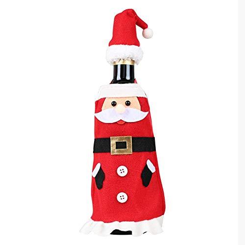 lingzhuo-shop Kerstmis wijnfles cover decoratie, Kerstman champagne wijn kleding cover voor kerstsessen party decoratie nobel Weihnachtsmann rood