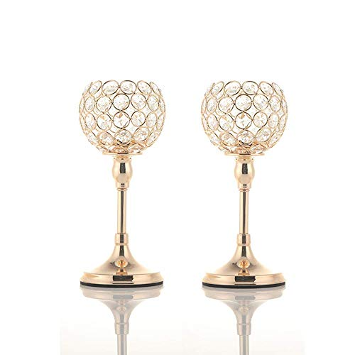 VINCIGANT Gold Crystal Pillar Candlestick Holders Set of 2 for Wedding Coffee Table Decorative Centerpieces/House Decor Gifts for Anniversary Celebration, 10 Inches Tall