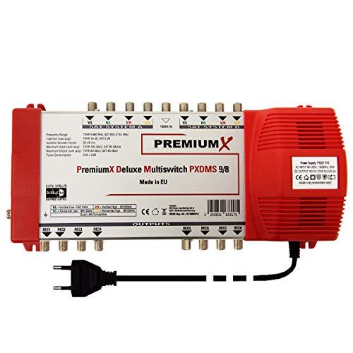 PremiumX Deluxe Multischalter PXDMS 9/8 SAT TV Matrix Signal-Verteiler Multiswitch 2 Satellit 8 Teilnehmer HDTV FullHD 4K UHD | 9in 8out Quad-tauglich