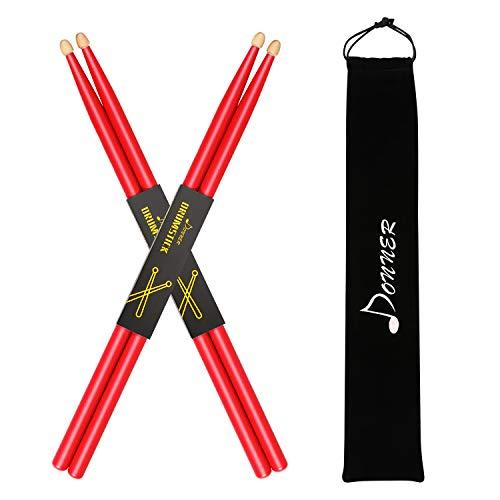 Donner 5A Drumsticks Rot Klassisches Ahorn Holz 2 Paar mit Tasche