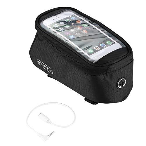 #N/V ROSWHEEL - Bolsa de bicicleta para bicicleta (marco delantero, bolsa de pantalla táctil, para teléfono celular, bicicleta de montaña