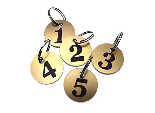 Origin Schlüsselanhänger, Nummern 1 bis 5, Gold, rund, mit gravierten Zahlen, für Hotels, Pensionen, B&Bs, Unternehmen