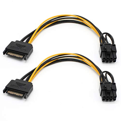 2 Pack Sata to 8 Pin 6 Pin PCIe Video Card Power Adapter Cable 7.9 inch