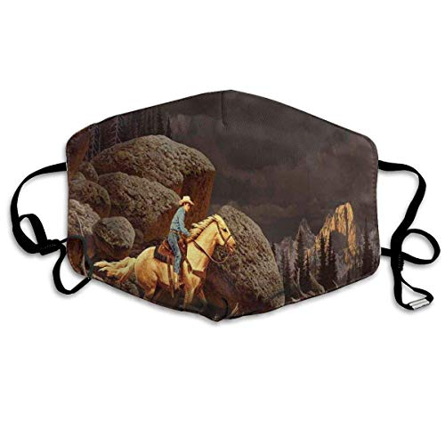 Mundschutz Breathable Face Cover Mouth Cover Dust-Proof A Rock Mountain Landscape with A Cowboy Riding Horse North America Style,Facial Decorations