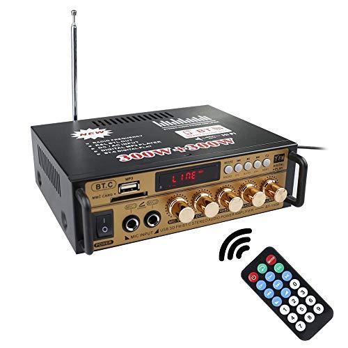 Docooler 12 V/220V Mini Amplificador Bluetooth,HiFi Audio Estéreo Pantalla LCD de 2 CH de Potencia, BT FM Radio Portátil Auto Home 600 W, Mando a Distancia Audio Amplificador(ORO)