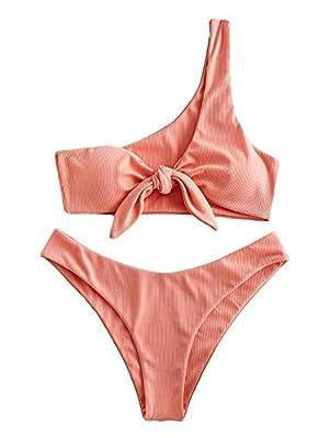 ZAFUL Beach Swimwear Tie Front Ribbed One Shoulder Bikini Swimsuit Orange Pink