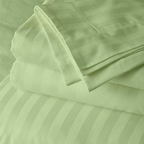 Cotton Bed Sheets 4 Piece Set 400 Thread Count 100% Extra Long Staple Luxurious & Hypoallergenic Bedding Hotel & Home Collection Deep Pocket 10-18 inches (Short Queen, Sage Stripe)