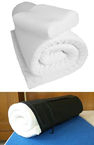 Reise-Set Matratzenauflage+Reise-Nackenkissen aus Viscoschaum Bezug Cool and Dry, weiß (Matchsack schwarz)