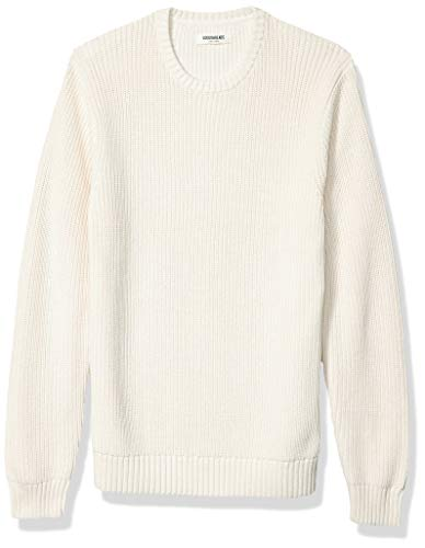 Amazon Brand - Goodthreads Men's Soft Cotton Rib Stitch Crewneck Sweater, Vintage White XX-Large