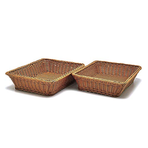ACAMPTAR Cesta Rectangular para Mesa o Mostrador para Cestas de Mimbre para Pan, Frutas y Verduras para Mercados, Spas, Salones, PanaderíAs y Boutiques