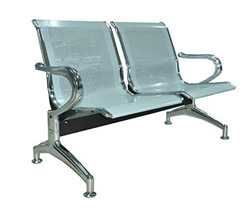 Bancada para sala de espera con sillas ergonómicas plateadas de 2 plazas