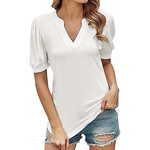Camiseta de Manga Corta con Cuello en V Casual Top Suelto Color sólido Moda Simple Ropa de Mujer