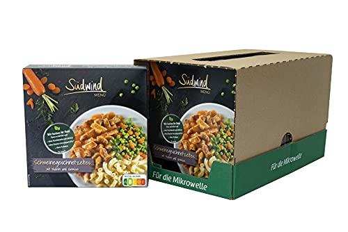 Schweinegeschnetzeltes in pfeffriger Sauce mit Nudeln und zarter Gemüsemischung – 7er Pack (7 x 480g) - Fertiggerichte für die Mikrowelle / Wasserbad - Südwind Lebensmittel