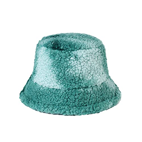 WHBGKJ Sombrero de Invierno Nuevas Mujeres de Invierno Cubo de Peluche Sombreros de la Corbata del Arco Iris Teñido Pescador Caps Gorros de cúpula cálida Femeninos Casual Femeninos Foros de la Moda