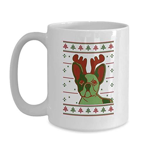 Ugly Sweater Style Mug French Bulldog Face - 11 oz White Coffee, Tea Mug Frenchie Christmas Cup