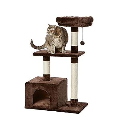 AmazonBasics Cat Tree with Base Condo - 24 x 19 x 50 Inches, Small, Dark Brown