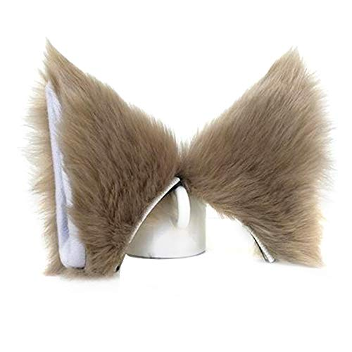 ONECHANCE Orejas de zorro cosplay oreja de gato diadema Catwoman disfraz de Halloween Carnaval (Caqui)