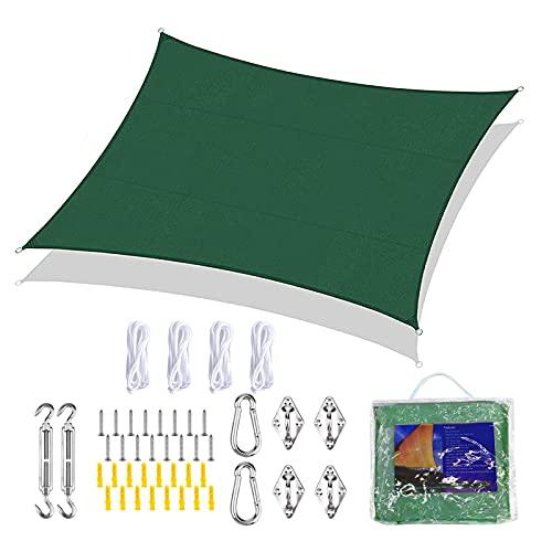 FLOFIA Vela Ombreggiante 4x3m Tenda a Vela Ombreggiante Rettangolare Protettiva dal Sole Anti Raggi UV Vela Parasole Impermeabile per Giardino Balcone Esterno con Kit di Installazione Verde Scuro