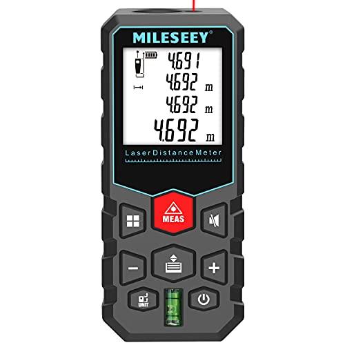 Misuratore Laser 40m, MiLESEEY Metro Laser Professionale precisione ± 2 mm, misurazione del volume/Area/Lunghezza/Distanza,retroilluminazione LCD, funzione silenziosa, IP54, batteria inclusa