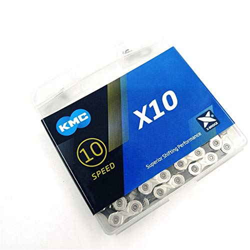 shuai Hohe Qualität X10 Silber/Schwarz 10 Speed 116 Verbindungen Missing Bike Chain 10-20-30 Geschwindigkeit Kassette MTB City Road Fahrrad Trekking-Fahrrad-Ketten Fahrradteile (Color : Light Grey)