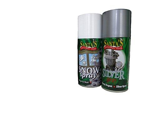 Dekoleidenschaft 2-teiliges Kunstschnee-Spray-Set, 1 x Kunstschnee und 1 x Silber-Spray + 20 Schablonen inklusive