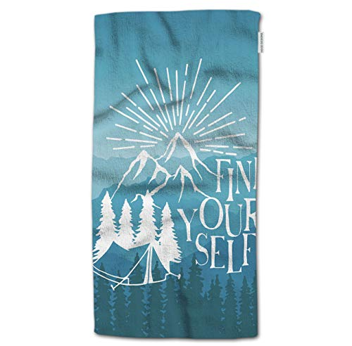 "HGOD DESIGNS Hand Towel Quote,Find Yourself Artwork Poster with Tent Pine Trees and Mountains Hand Towel Best for Bathroom Kitchen Bath and Hand Towels 30"" Lx15 W"