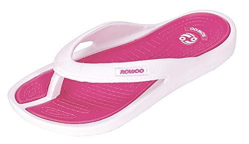 ROWOO Women EVA Lightweight Beach Flip Flop Sandals (10 US / 41 EU) Rose