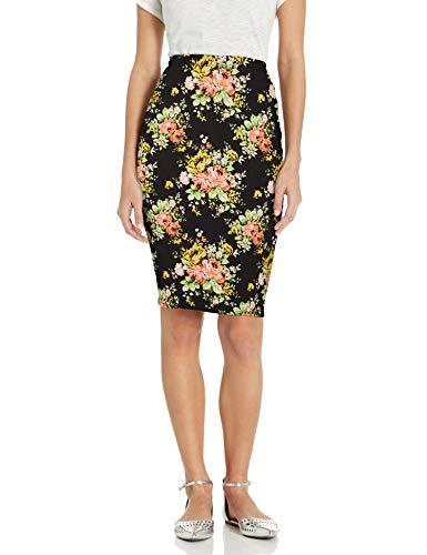 Star Vixen Women's Below-Knee Pencil Skirt with Back Slit, Black Ground Floral, M