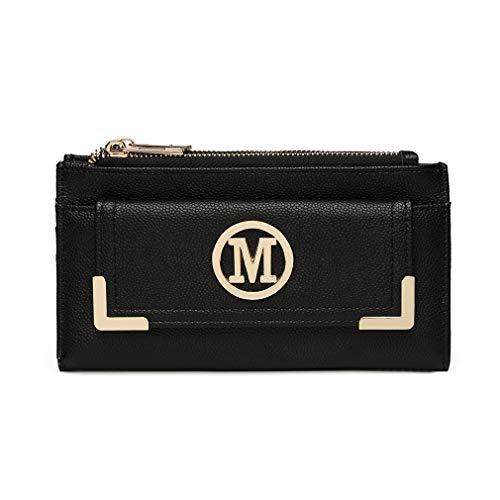 Miss Lulu Geldbörse Clutches LP6882 Kleine Tasche Geldbeutel M Logo Mini Damen Envelope 2018 Pu Leder Shopping Reise (Schwarz)