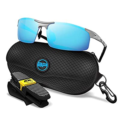 BLUPOND Sports Sunglasses for Men/Women - Anti Fog Polarized Shooting Safety Glasses for Ultimate Eye Protection Mirrored Lens (Silver Frame Blue Mirrored)