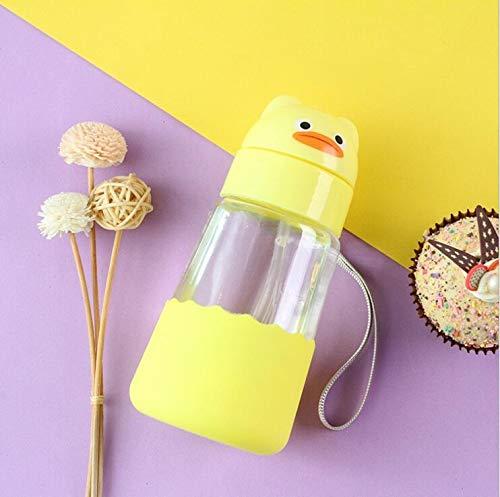 Botella de Agua de Cristal, diseño de Pato, Taza de Agua con Pajita para niños, diseño Simple, 100% Libre de BPA, no tóxica, para Agua fría y Caliente, ecológica, Reutilizable, Botella pequeña 350 ml