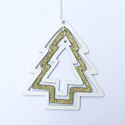 ZXXFR Kerstmis deco hanger 3 stuks drie kleuren DIY schattige kerstboom houten hanger sieraden voor huis kerstfeest/Xmas Tree houten hanger/kinderen geschenken inrichting