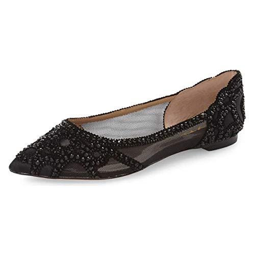 XYD Women Elegant Pointed Toe Rhinestone Flats Mesh Slip On Low Heel Wedding Bride Dress Shoes Size 10 Black