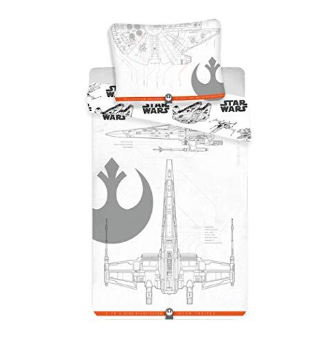 Unbekannt Star Wars - Juego de cama reversible (140 x 200 cm, funda de almohada de 70 x 90 cm, 100% algodón), color gris