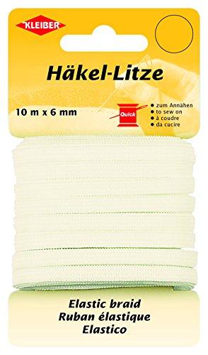 Kleiber Häkel-Litze/Feines Gummiband, 78% Polyester, weiß, 1000 x 0.6 x 0.05 cm