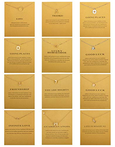 Subiceto 12 PCS Friendship Message Card Necklaces for Women Anchor Compass Good Luck Elephant Pendant Chain Necklace With Gift Card