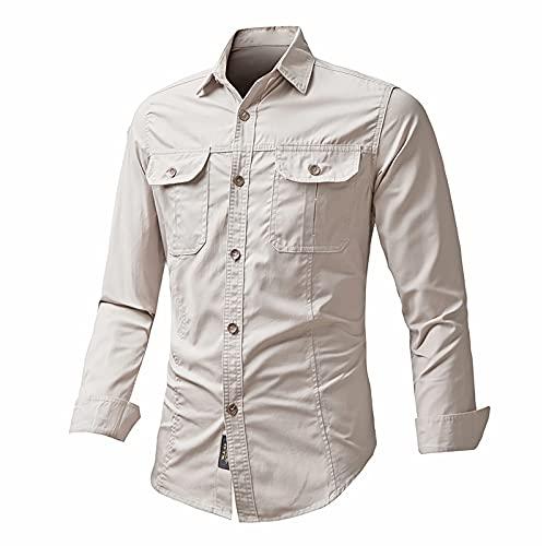 2021 camisas para Hombre,Manga Larga Color sólido Moda Diario Casual T-shirt Algodón Talla grande Blusas...