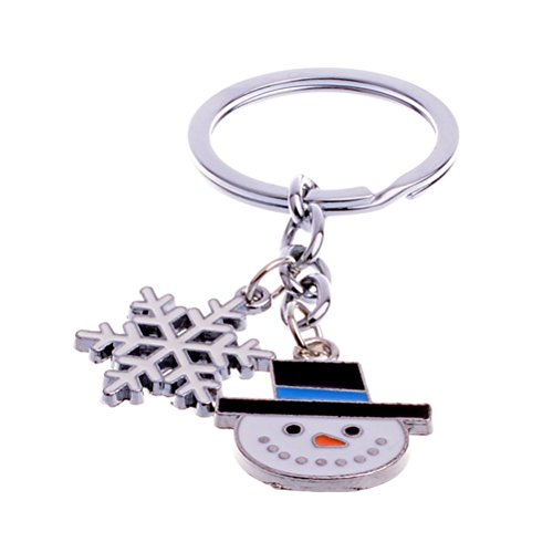 BESTOYARD Cute Mini Christmas Snowman and Snowflake Design Handbag Keychain Xmas Gifts Key Ring Decorative Car Key Chain Trinket Souvenir