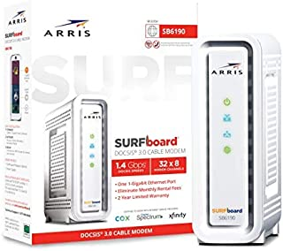 ARRIS SURFboard SB6190 DOCSIS 3.0 Cable Modem, Approved for Cox, Spectrum, Xfinity & others (White)