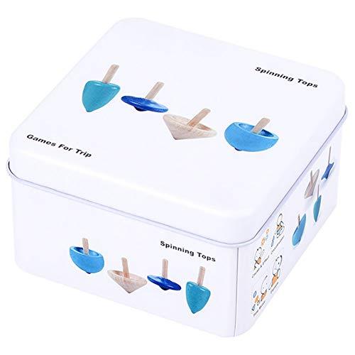 Apofly 1set Wooden Puzzle-Würfel Domino Rennen Spinning Tops Puzzle-Spiel mit Reisen Tin Box Kleinkindspielzeug Lernspielzeug für Kleinkinder Kinder, Kreisel