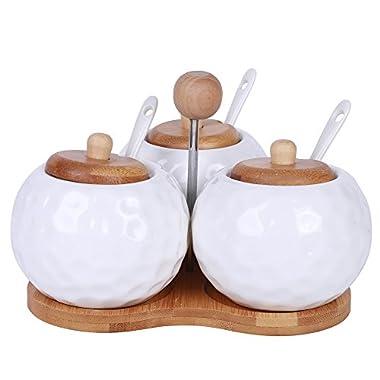 Modern Elegant 3 Piece Ceramic Condiment Cups Pot Jars Set With Spoons and Holder - HONEY POT Pattern For Chutney Jelly Sugar Powder Creamer Server