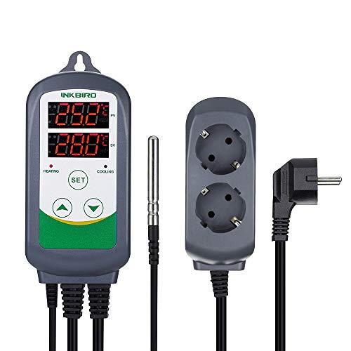 Inkbird ITC-308 Temperatur Steuerung Steckdosen 220V Thermostat mit NTC Sensorsonde für Gewächshaus Reptilien Terrarium